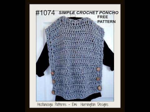 SIMPLE PONCHO CROCHET PATTERN, Pattern # 1074, Free Pattern ...