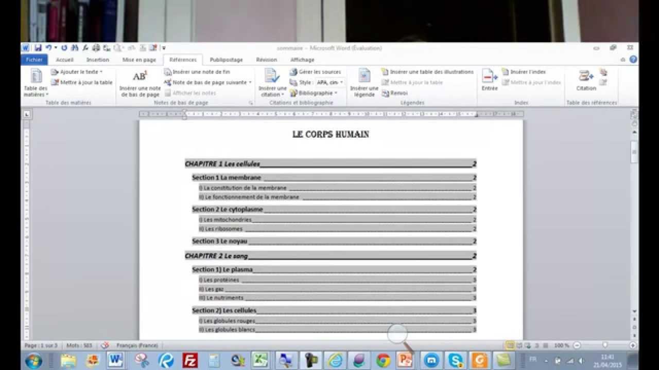 Comment créer et corriger une table de matières dans word