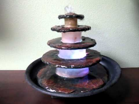 5 Tier Stacked Slate Stone Design Tabletop Fountain With Color Changing  Light