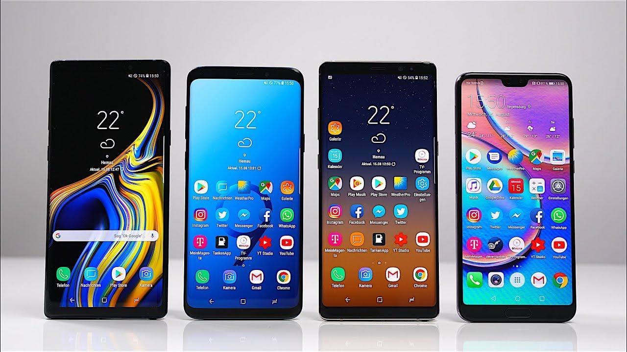 Samsung Galaxy Note 9 Vs S9 Vs Note 8 Vs Huawei P20