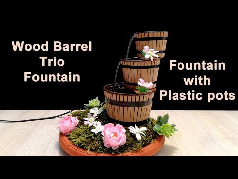 How to make Wood Barrel Trio Fountain with plastic pots / DIY