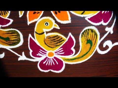 simple and beautiful birds rangoli designs with 9 dots - kolam designs - creative muggulu