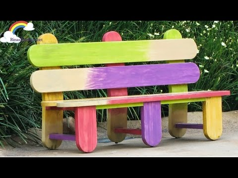 Diy Popsicle Stick Bench Craft For Kids Dollhouse