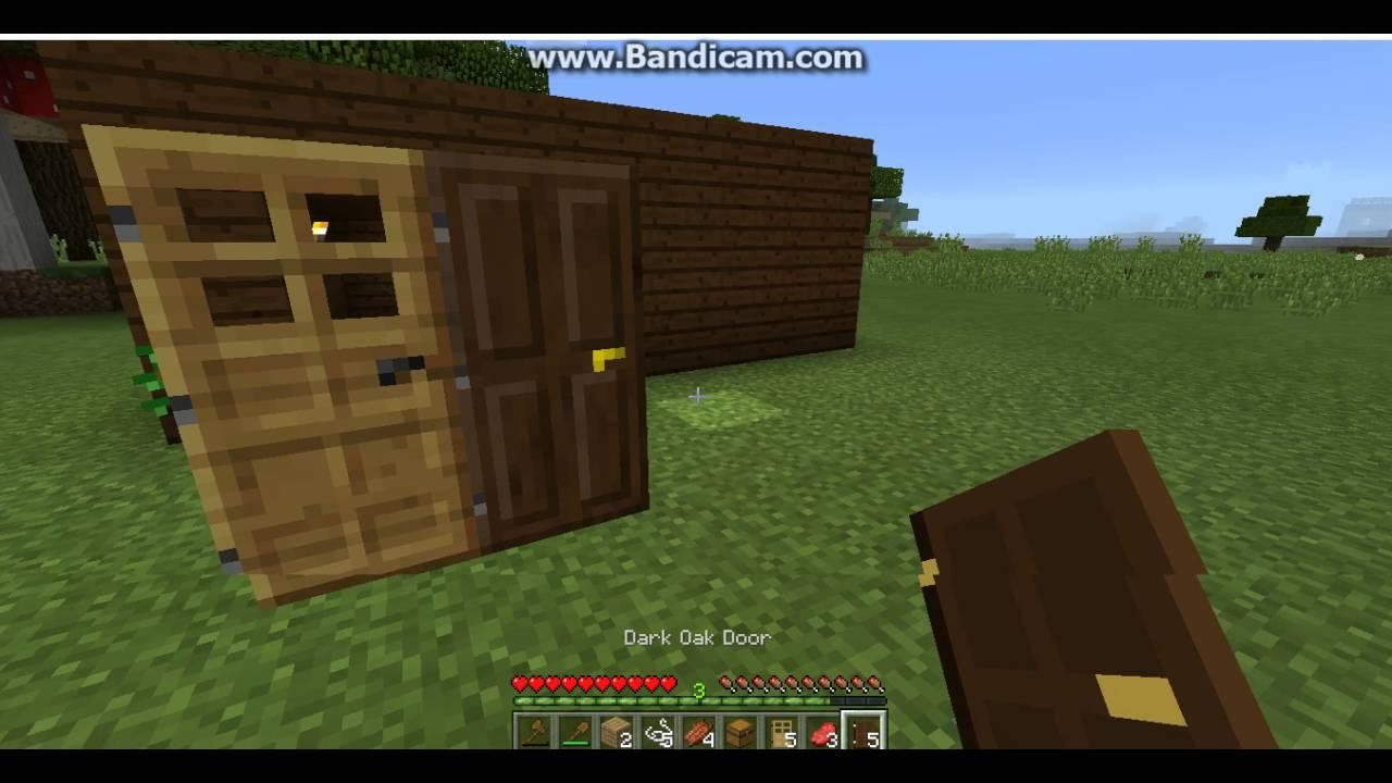How to make dark oak and oak wood doors in Minecraft - YouTube