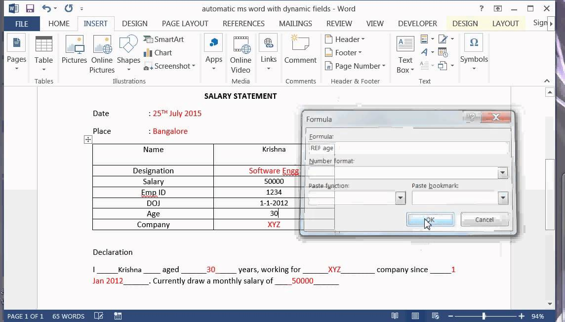 How to create MS Word document automatically with Dynamic fields