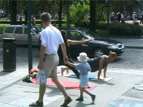 Ashtanga Yoga practice in the middle of a street, in Helsinki 2001