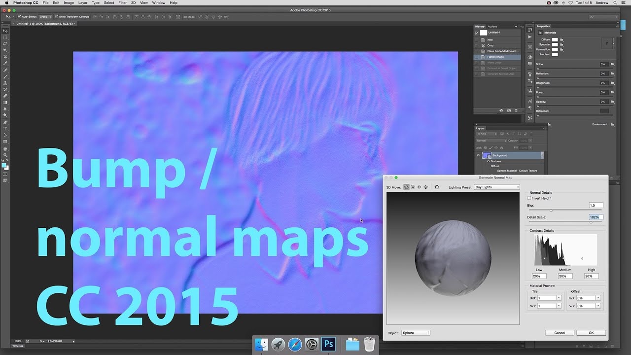 Generate normal and bump map filter in Photoshop CC tutorial