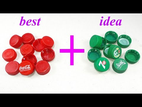waste plastic bottle caps craft idea   best out of waste   Diy plastic bottle caps reuse idea