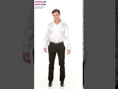 0f90c089 Hvit Sateng Skjorte med Rysjer
