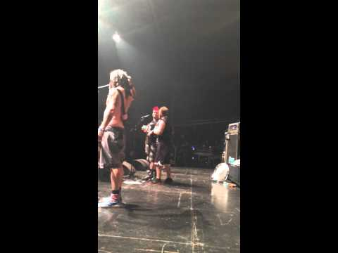 Fat Mike (NOFX) kissed by a fan in Xtreme Fest (Albi,FR) live concert