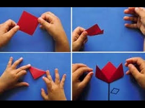 Diy tulipa de papel youtube for Como colocar papel mural