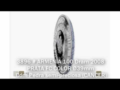3896 # ARMENIA 100 Dram 2008 PRATA FC COLOR Ø39mm C/ Pedra Semi-preciosa (CANCER)