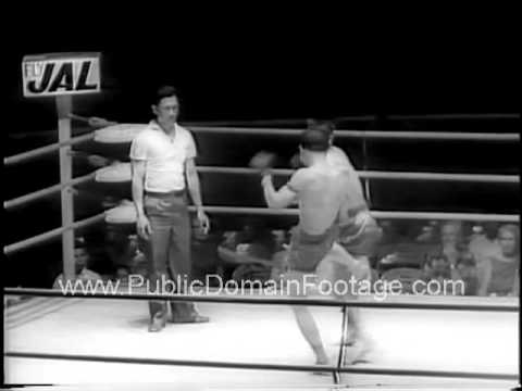 Thailand kick boxing 1961 archival stock footage   www.PublicDomainFootage.com