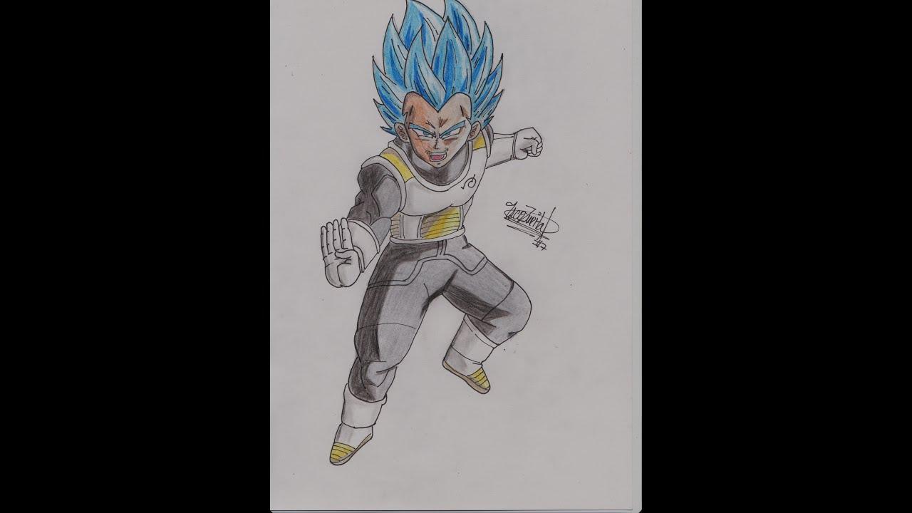 Dibujando a Vegeta SSJ Dios Azul  YouTube