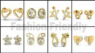 Gold stud earrings/Latest gold stud earring designs/Stud earrings - Fashion Friendly