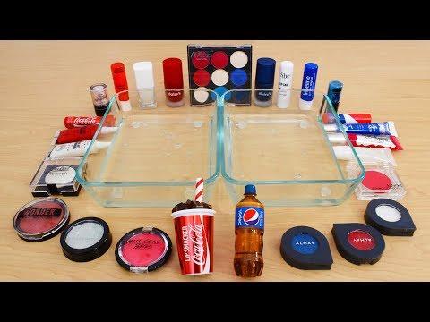 Coke vs Pepsi - Mixing Makeup Eyeshadow Into Slime Special Series 201 Satisfying Slime Video