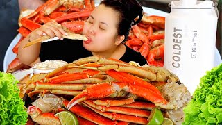 SEAFOOD BOIL MUKBANG 먹방 SNOW CRAB LEGS EATING SHOW (LESS TALKING MORE EATING) W/ SPICY SEAFOOD SAUCE