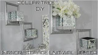 DIY DOLLAR TREE | BLING MIRROR STORAGE WALL UNIT DECOR COLLAB WITH GREEN CRYSTAL ROSE