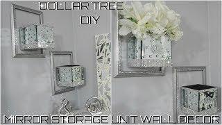 Diy Dollar Tree | Bling Mirror Storage Wall Unit Decor Collab With Green Crystal Rose