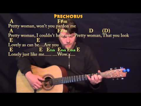Pretty Woman (Roy Orbison) Fingerstyle Guitar Cover Lesson with Chords/Lyrics