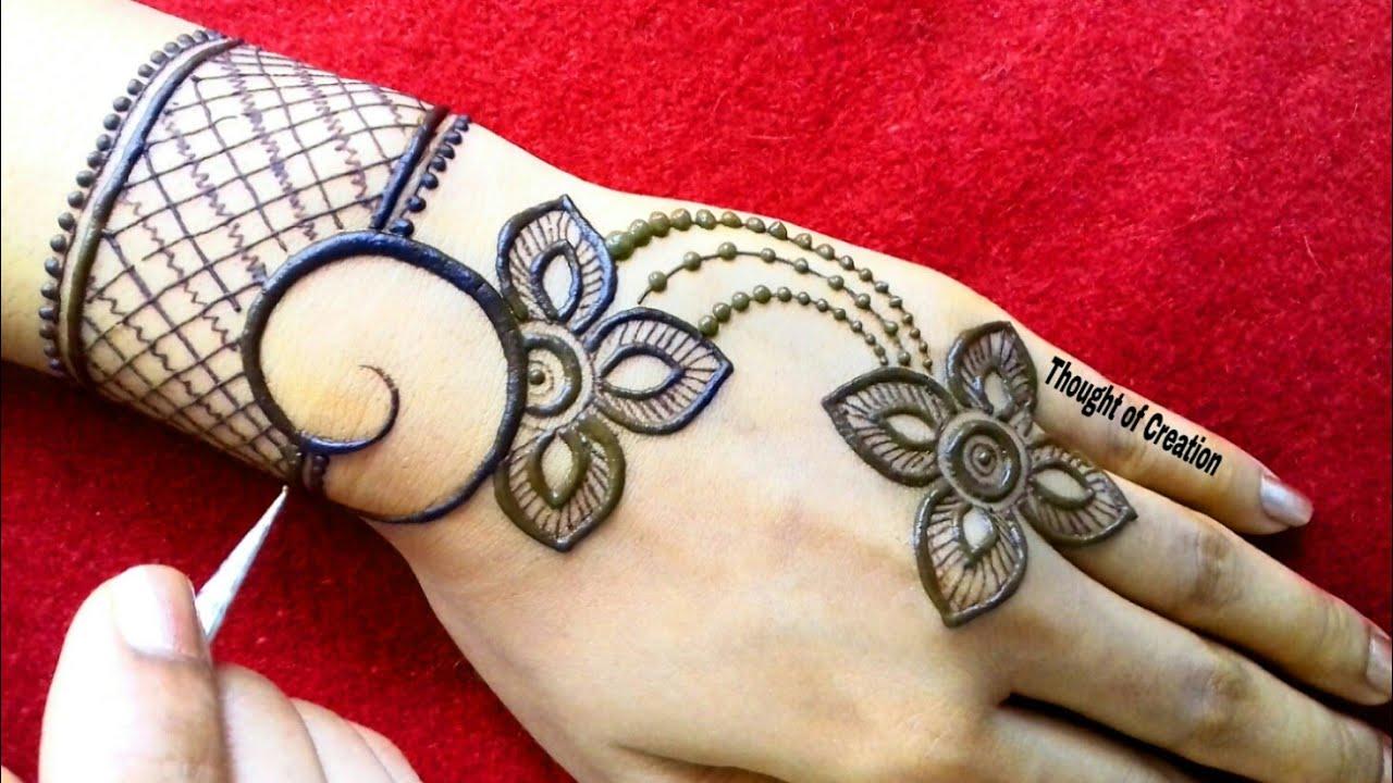 Simple Stylish Jewellery Mehndi Design For Hands