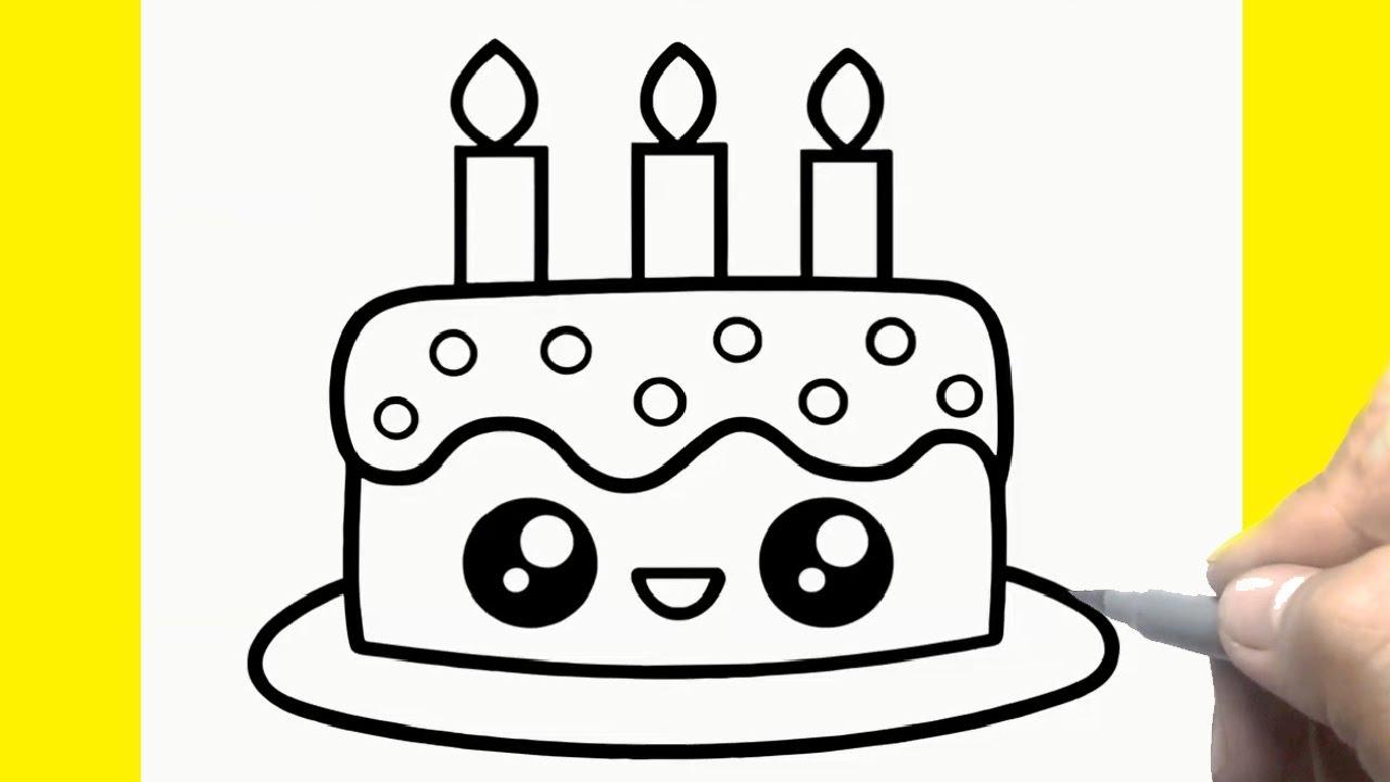 Bánh Sinh Nhật Hướng Dẫn Vẽ Đơn Giản | Cómo dibujar pastel de cumpleaños Kawaii, Coco Draw Cute