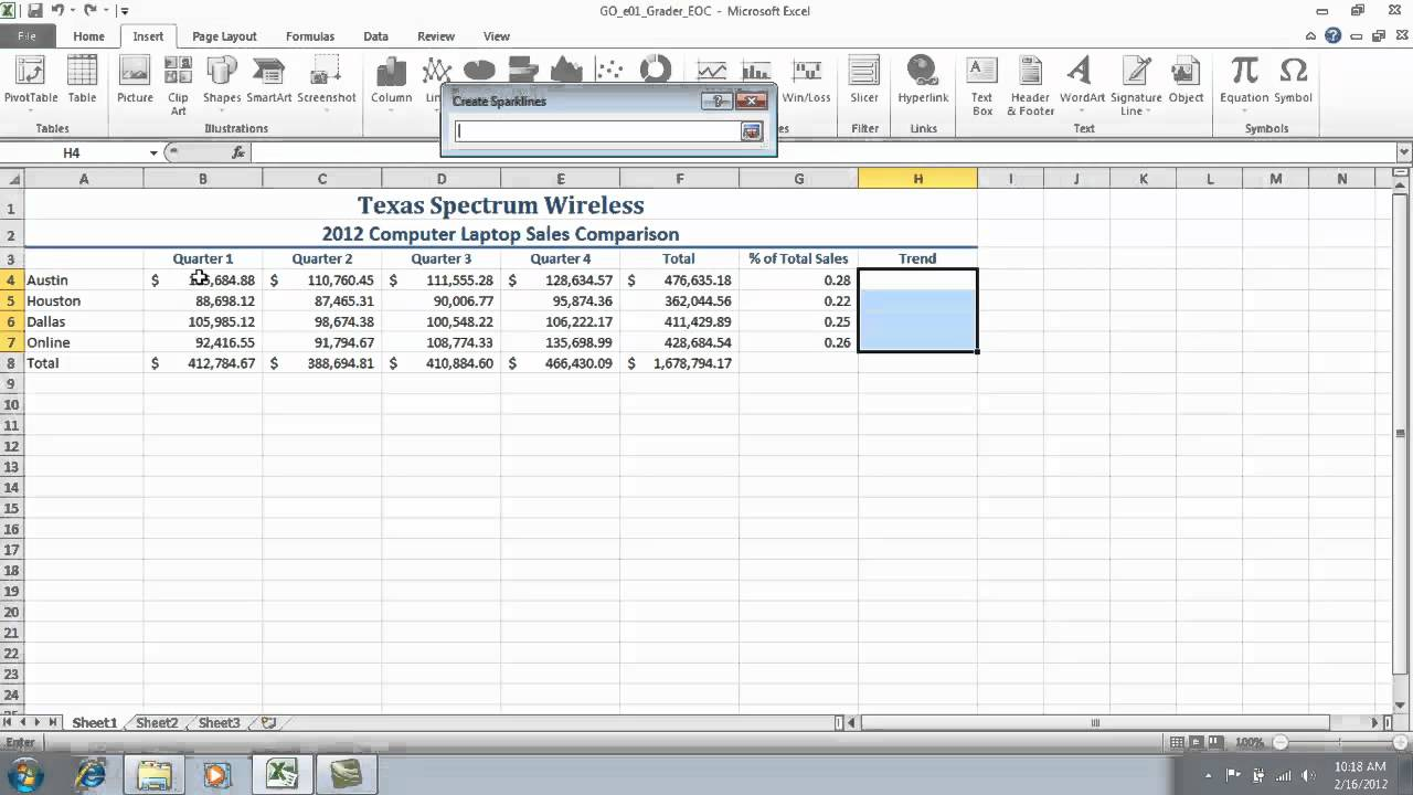 Excel Chapter 1 Grader Project Step 7