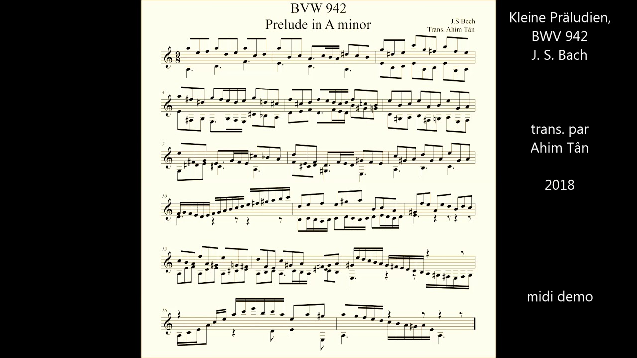 Bach BWV942 Prelude in Am。arr  for guitar solo  Midi demo