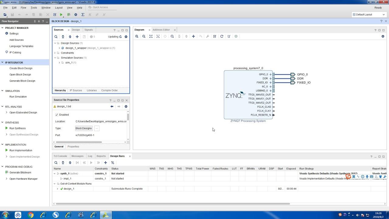 gpio emio project based on Xilinx zynq-7020 Z-turn board
