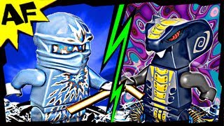 NRG ZANE vs SLITHRAA 9590 9573 Lego Ninjago Spinjitzu Battle & Animated Review