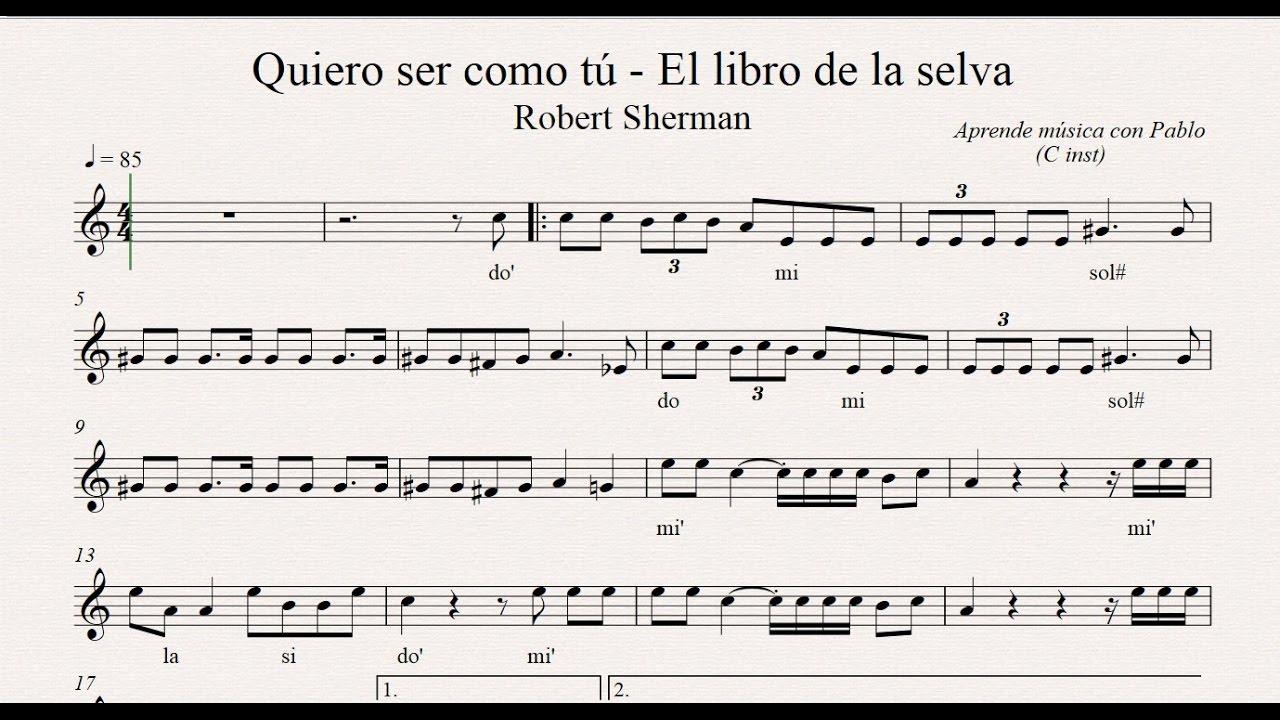 """EL LIBRO DE LA SELVA """"Quiero ser como tu"""": (flauta, violín"""