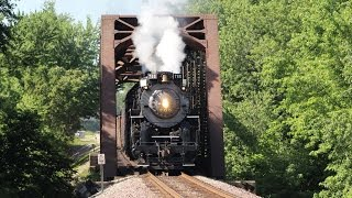 NKP 765 Steam locomotive with 29 cars on the mainline 150 mile chase