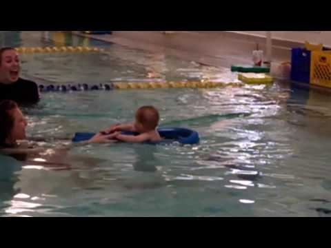Carter's first swimming lesson