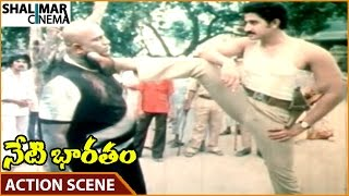 Neti Bharatam Movie || Suman Superb Introduction Action Scene || Vijayashanti || Shalimarcinema