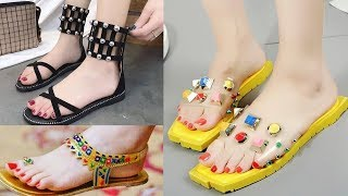 Beautiful Comfortable Flat Sandals Collection || Stylish Shoes for Girls 2018