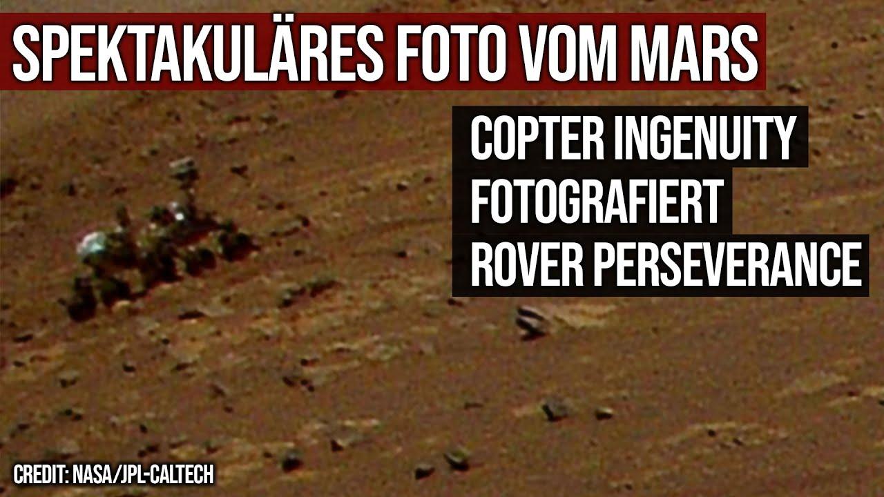 Spektakuläres Foto vom Mars - Copter Ingenuity fotografiert Rover Perseverance