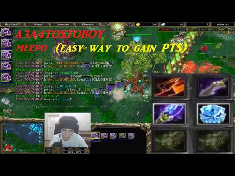 DOTA A3A4TOSTOBOY  Meepo Easy Way Gain Pts