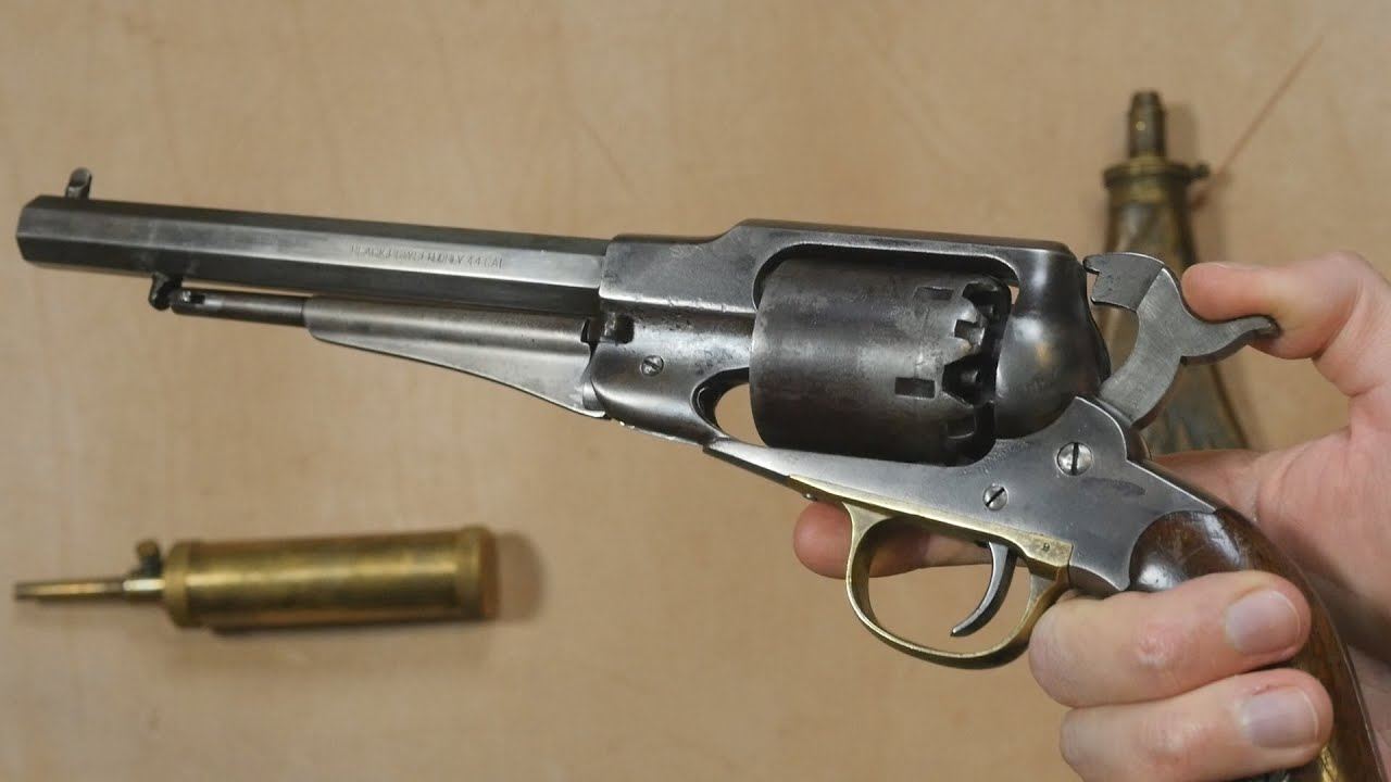 An antique percussion revolver and how it works