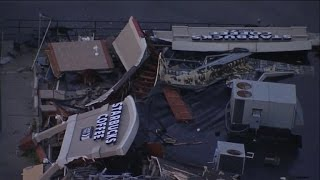 Watch Shocking Video Of Tornado Demolishing a Starbucks(Cell phone video captures a tornado leveling a Starbucks store in Indiana. A man eating at a Chili's across the street shot the video from behind the bar., 2016-08-25T21:51:35.000Z)
