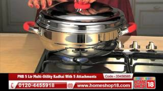 Homeshop18.com - PNB 5 Ltr Multi-Utility Kadhai With 5 Attachments