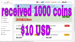 launch an ICO project received 1000 coins = $10 USD exchange coins centriccapital