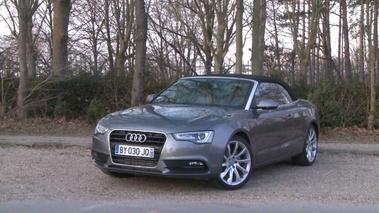 essai audi a5 cabriolet 3 0l v6 tdi 204ch multitronic youtube. Black Bedroom Furniture Sets. Home Design Ideas