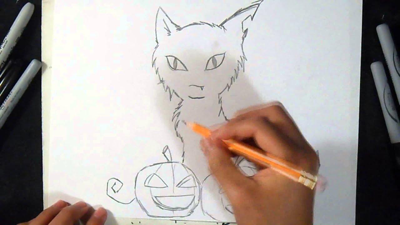 Como Desenhar Um Gato O Dia Das Bruxas By Xux Design