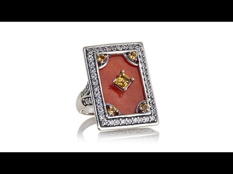 Jade of Yesteryear Red Jade, CZ and Citrine Ring