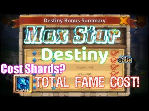 Max Destiny Star Fame Cost! Skill Lv11 Cost Shard? Castle Clash