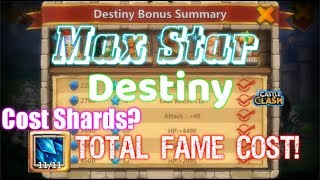 Max Destiny Star Fame Cost! Skill Lv11 Cost Shard? Castle Clash
