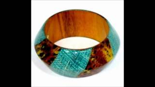 Stainless Steel and Wood Natural Laminated Bangles Thumbnail