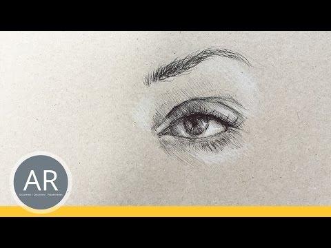 Ganz einfach Augen zeichnen lernen. Porträt zeichnen lernen mit dem Kugelschreiber.