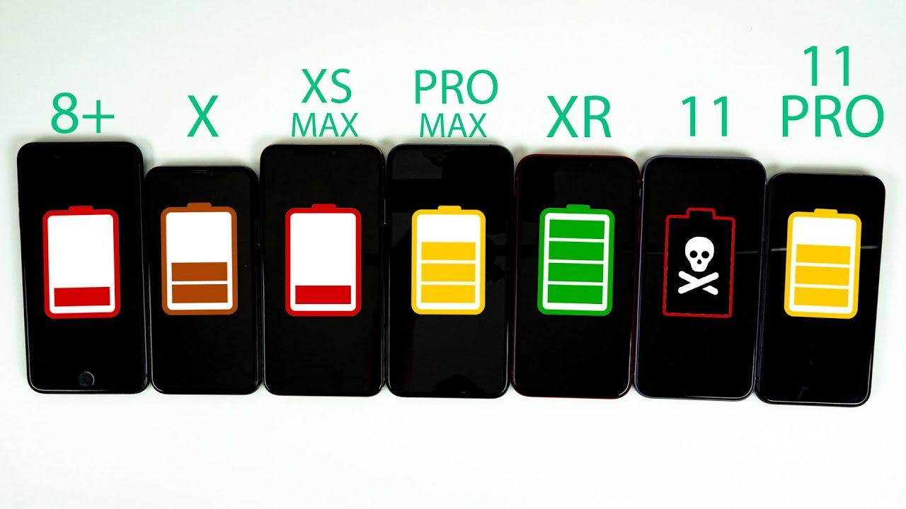 iPhone 11 vs iPhone 11 Pro vs Pro Max vs XR vs XS Max vs X vs 8 Plus Battery Life DRAIN TEST