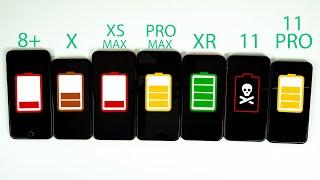 Download iPhone 11 vs iPhone 11 Pro vs Pro Max vs XR vs XS Max vs X vs 8 Plus Battery Life DRAIN TEST Mp3 and Videos